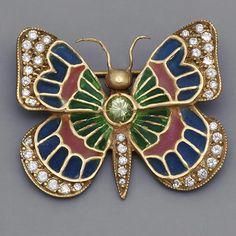 Art Nouveau Plique A Jour Butterfly Brooch