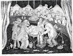 gail siptak.  theater of operation. etching