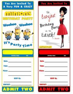 Minions movie birthday invitations