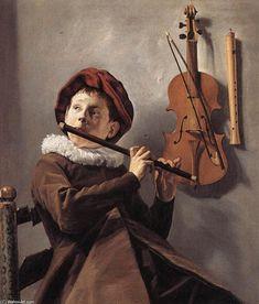 'Joven jugador de flauta', óleo sobre lienzo de Judith Leyster (1609-1660, Netherlands)