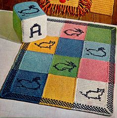 Block Pillow & Rug crochet