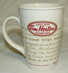 "❥ Tim Horton's Coffee Mug/Cup 2009 ""Road Trip"" Limited Edition, Tim Hortons Best Coffee, My Coffee, Morning Coffee, Coffee Cups, Tea Cups, Tim Hortons Coffee, Canadian Things, Love Is, Good Notes"