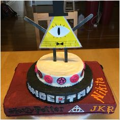Cake I made for my daughter's 16th birthday. Harry Potter, Undertale, Steven Universe, & Gravity Falls