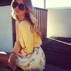 butter yellow + floral skirt + summer waves