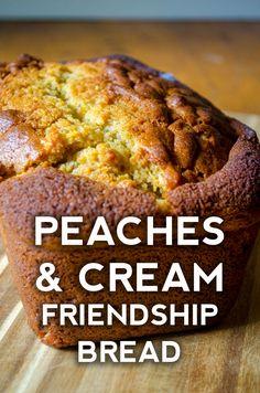 Amish Friendship Peaches & Cream Bread – Home Friendship Bread Recipe, Friendship Bread Starter, Amish Friendship Bread, Friendship Cake, Amish Bread Recipes, Dutch Recipes, Cooking Recipes, Sourdough Recipes, Sourdough Bread