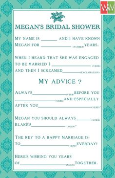 Bridal shower card. Could put on table for when guests arrive and put in a basket for Jen to read later