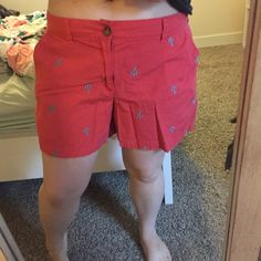 """Anchor patterned shorts Adorable red shorts patterned with blue anchors. These shorts have a 5"""" inseam. Old Navy Shorts"""