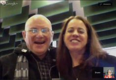 Marty and Twitter buddy Sharon Plante (educator extraordinaire) sharing a laugh before the reading.