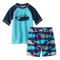 My new boys swim trunks are starting to hit target stores now!    Circo® Infant Toddler Boys' Whale Rashguard and Swim Trunk Set - Blue