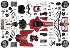 that approximately components come together to make an car! Valentino Rossi, Ducati, Cardboard Design, Ferrari F1, Car And Driver, Go Kart, Car Car, Race Cars, Paper Crafts