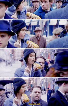 Fantastic Beasts - Tina eating her hot dog while Newt and Jacob accidentally bump into her  Nearby stands Tina Goldstein, hat low on her head, upturned collar. She is eating a hot dog, mustard smeared on her upper lip.