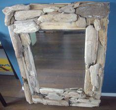 grote spiegel van aangespoeld zeehout  110x80cm