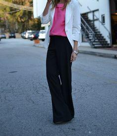 white blazer + black wide-legged pants