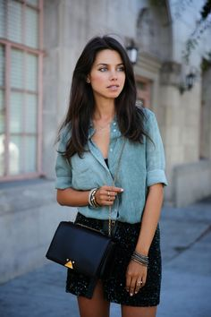 sequins + denim shirt - a great combination and a way to make sequins work during the day #FLYfashion.