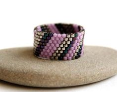 Black geometric ring Womens band ring Seed bead jewelry Modern