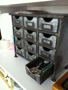 hobby lobby 12 drawer metal organizer   storage things I have is this metal chest that I bought at Hobby Lobby ...