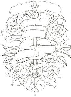 19 ideas tattoo rose outline design coloring pages for 2019 Tattoo Coloring Book, Skull Coloring Pages, Heart Coloring Pages, Printable Adult Coloring Pages, Coloring Pages To Print, Coloring Books, Colouring, Tattoo Design Drawings, Cool Drawings
