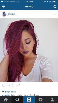 Magenta red pink hair #hair