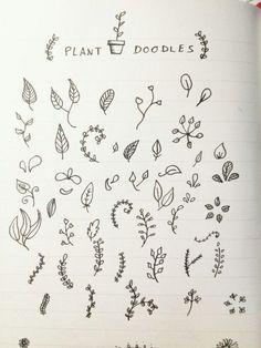 Bullet Journal: plant doodles | Agenda personalizada: diseños de plantas