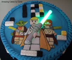Star Wars cake with glow stick for light sabre