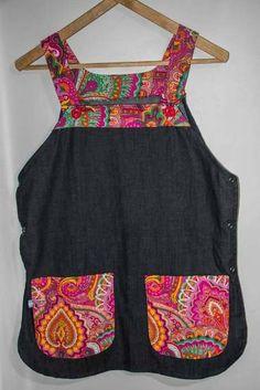 Guardapolvo Jumper A Color Para Docentes, Auxiliares, Etc. Bib Apron, Retro Vintage, Summer Dresses, Clothes, Patterns, Color, Fashion, Apron, Tricot