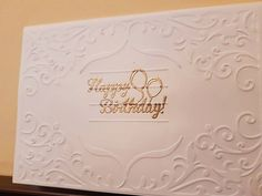Handmade embossed happy birthday greeting card - white and gold card, heat embossing, luxury card, damask pattern, gold birthday by ArtDenia on Etsy