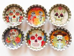 Sugar Skull magnets, bottle cap magnets, Fridge Magnets, Kitchen Magnets, bottle caps, Day of the dead, sugar skulls, skulls, skeleton on Etsy, $8.50