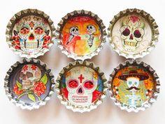 Sugar Skull magnets, bottle cap magnets, Fridge Magnets, Kitchen Magnets, bottle caps, Day of the dead, sugar skulls, skulls, skeleton on Etsy, $8.50
