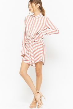 Product Name:Striped Tie-Front Shirt Dress, Category:dress, Price:27.9