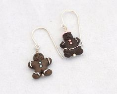 Holiday Earrings Tiny Gingerbread People by TurtleXIII.etsy.com