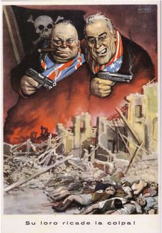 """Luigi (detto Gino) Boccasile (Bari, 14 luglio 1901 – Milano, 10 maggio 1952) - propaganda - """"Su loro ricade la colpa"""" #TuscanyAgriturismoGiratola"""
