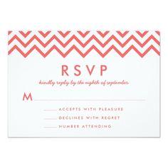 Coral and White Modern Chevron Wedding RSVP Card