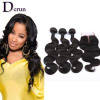 3 Bundles Brazilian Virgin Hair Weft Body Wave With Closure 6A Human Hair Bundles Weave Wavy Hair Extensions With Lace Closure
