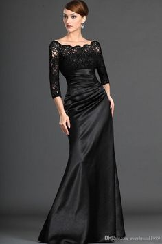 3/4 Long Sleeve Sheath Mother Of The Bride Dress Floor Length Stretch Satin Black Evening Party Gowns Groom's Mother Dresses 2016