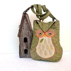 """umla: """" Owl Small Quilted and Embroidered Shoulder Bag Cross Body Fabric Purse…"""