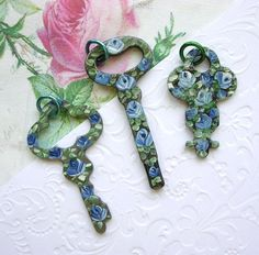 Lot Vintage Keys Hand Painted Enamel Roses Shabby Chic Blue White Pendants Charms. $12.00, via Etsy.