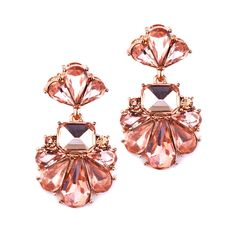 """Our dramatic icy crystal and gold plated bridal earrings are a work of art for your ears! Clusters of pear-shaped crystals in a Deco fan motif make a lavish bridal statement with a medium sized 1 1/2"""" h silhouette."""
