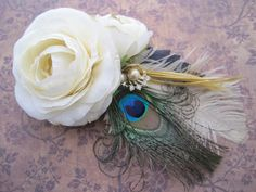 Bridal rose hair clip fascinator by Calicogarden on Etsy, $24.00