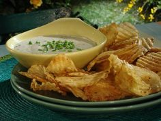 Potato Chips Warmed on Grill with Gorgonzola Sauce and Chives Recipe : Bobby Flay : Recipes