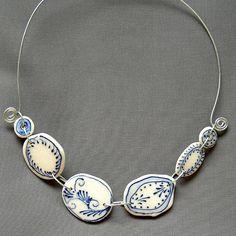 Swirl fleur porcelain necklace
