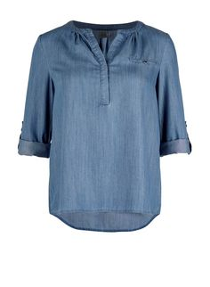 Denim look shirt with buttons T.Navy M.