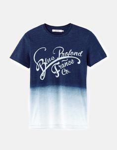 T-Shirt 100% cotton - AFEGRADIEN_DARKINDIGO - Front View - Celio France