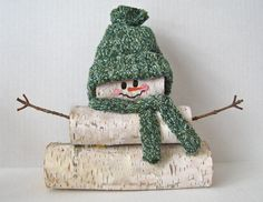 Birch Log Snowman with knit hat & scarf. $18.45, via Etsy.