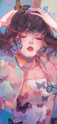 A very fun collaboration with clothing! Here's a very iridescent lady with lots of butterflies and a cute starry necklace to… Loli Kawaii, Kawaii Anime, Cute Cartoon Wallpapers, Animes Wallpapers, Pretty Art, Cute Art, Deviantart Drawings, Image Manga, Cute Girl Wallpaper