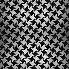 A houndstooth checked pattern using black marble and brushed silver.