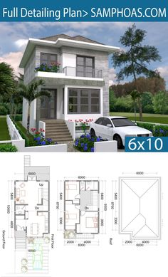 3 Bedrooms Small Home Design Plan – SamPhoas Plan 3 Schlafzimmer Small Home Design Plan – SamPhoas Plan Simple House Design, House Front Design, Minimalist House Design, Modern House Plans, Small House Plans, House Floor Plans, The Plan, How To Plan, 2 Storey House Design
