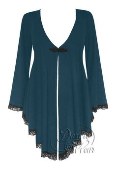 Dare To Wear Victorian Gothic Women's Plus Size Embrace Corset Sweater Dark Teal