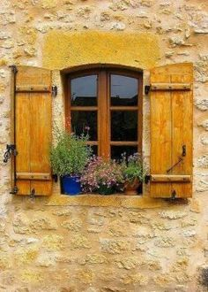 ♔ Franche-Comté ~ France I love the mustard color of the shutters Window Shutters, Window Boxes, Wood Shutters, Window Dressings, Window View, Through The Window, Old Doors, Door Knockers, Mellow Yellow