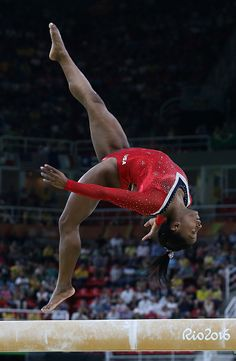 Simone BIles of USA competes in the Women's Balance Beam final on day 10 of the…