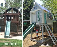"""before-and-after-treehouse - Anneka still loves to read in her """"tree house"""" and has been asking for walls for a while!"""